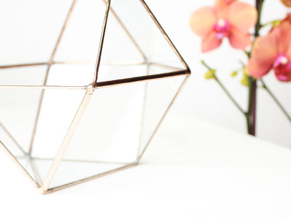 1, 13, vase, geometric, terrarium, orchid, glass, metal, gold, details, orchid, rose, orange
