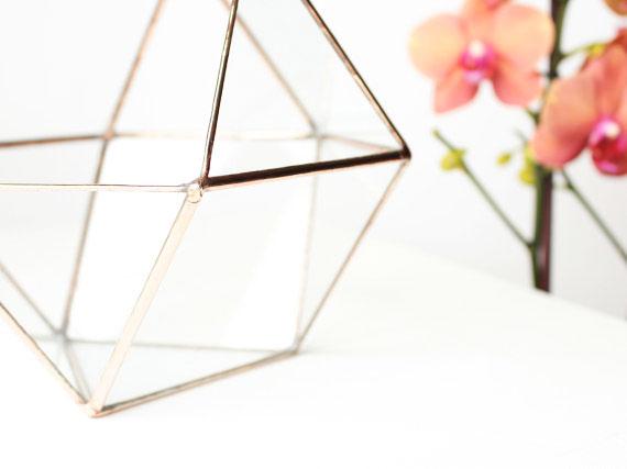 1, 13, vase, geometric, terrarium, orchid, glass, metal, gold, details, orchid, rose, orange