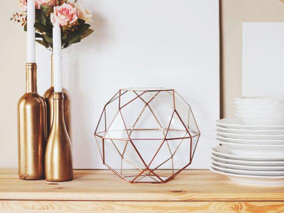 2, 13, vase, geometric, terrarium, orchid, glass, metal, gold, interior, set, candles, flowers