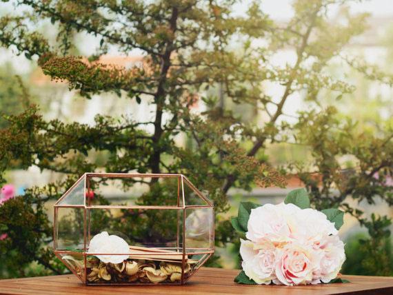 22, 13, vase, geometric, terrarium, orchid, glass, metal, green