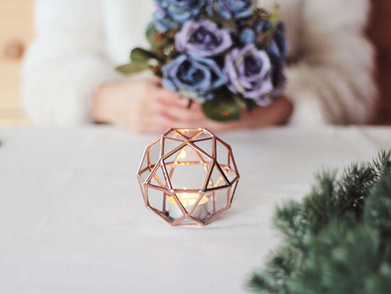 24, 13, vase, geometric, terrarium, orchid, glass, metal, candles, purple, roses, hands, flowers, table