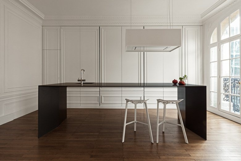 cucina, kitchen, classic style, modern style, living, interior, apartmen, black, white, wood, 1