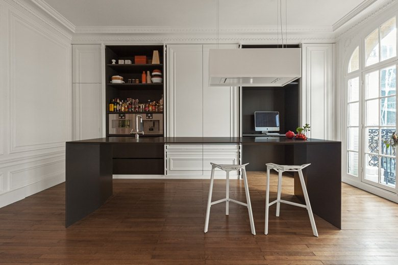 cucina, kitchen, classic style, modern style, living, interior, apartmen, black, white, wood, 4