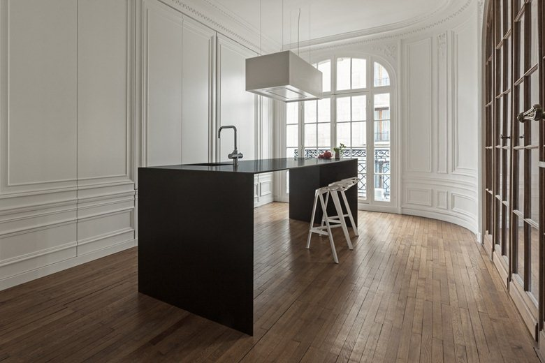 cucina, kitchen, classic style, modern style, living, interior, apartmen, black, white, wood, 6